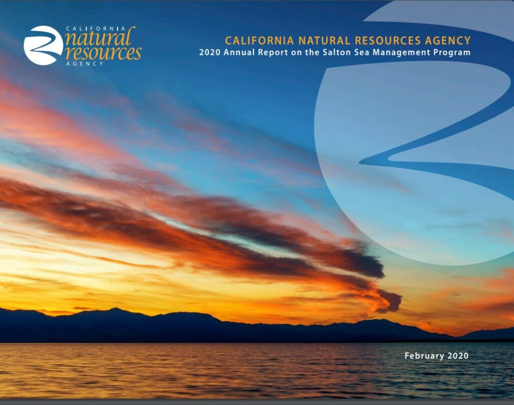 Cover of Salton Sea 2020 annual report.