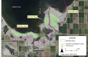 Aerial Map of Projects completed at the Salton Sea in 2020