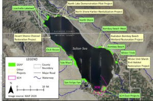 Aerial Map of Projects in progress and potential future projects under consideration at the Salton Sea